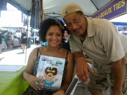 Selling Nola books at the June 2014 Freret Market with fellow author, Alex Mc.